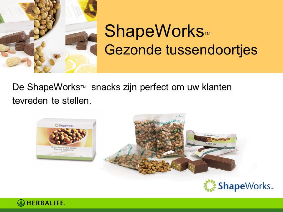 ShapeWorks TM Gezonde tussendoortjes De ShapeWorks TM snacks zijn perfect om uw klanten tevreden te stellen.