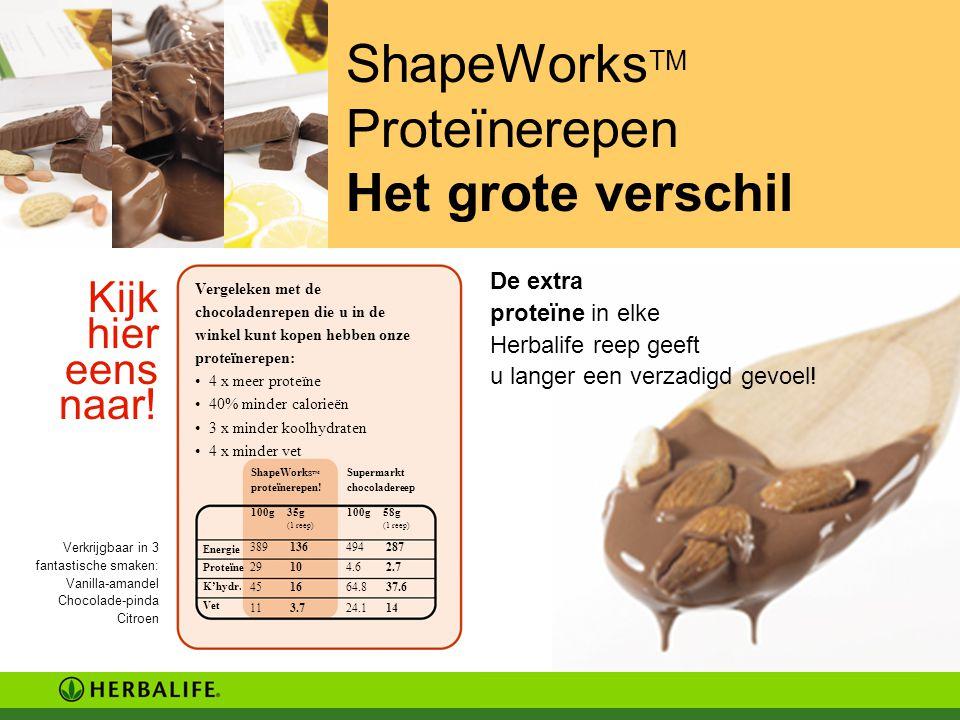ShapeWorks TM Proteïnerepen Het grote verschil Kijk hier eens naar! De extra proteïne in elke Herbalife reep geeft u langer een verzadigd gevoel! Verk