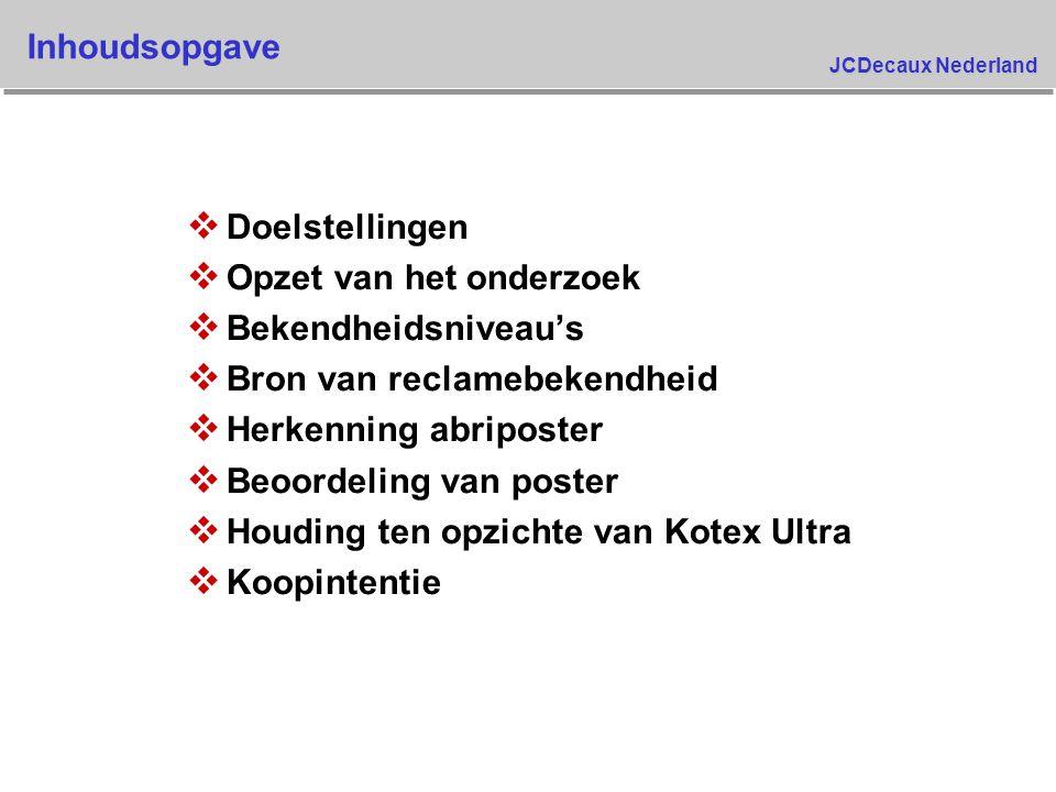 JCDecaux Nederland Doelstellingen v Kimberly Clark voerde een campagne met Abribus, tijdschriften en televisie met het doel om de bekendheid van de opnieuw geïntroduceerde Kotex Ultra en haar produktvoordelen te verhogen v Het onderzoek was opgezet om volgende te meten : s niveau's van bekendheid van het opnieuw geïntroduceerde merk s herkenning van de specifieke communicatie s houding ten opzichte van Kotex Ultra s begrip en invloed op koopgedrag