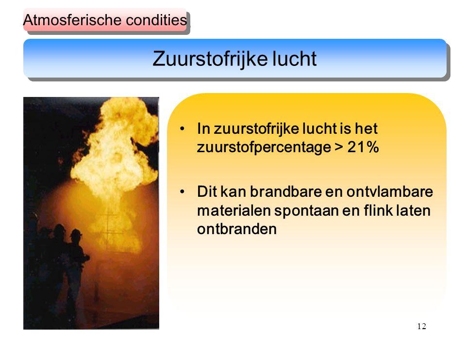 12 In zuurstofrijke lucht is het zuurstofpercentage > 21% Dit kan brandbare en ontvlambare materialen spontaan en flink laten ontbranden Zuurstofrijke