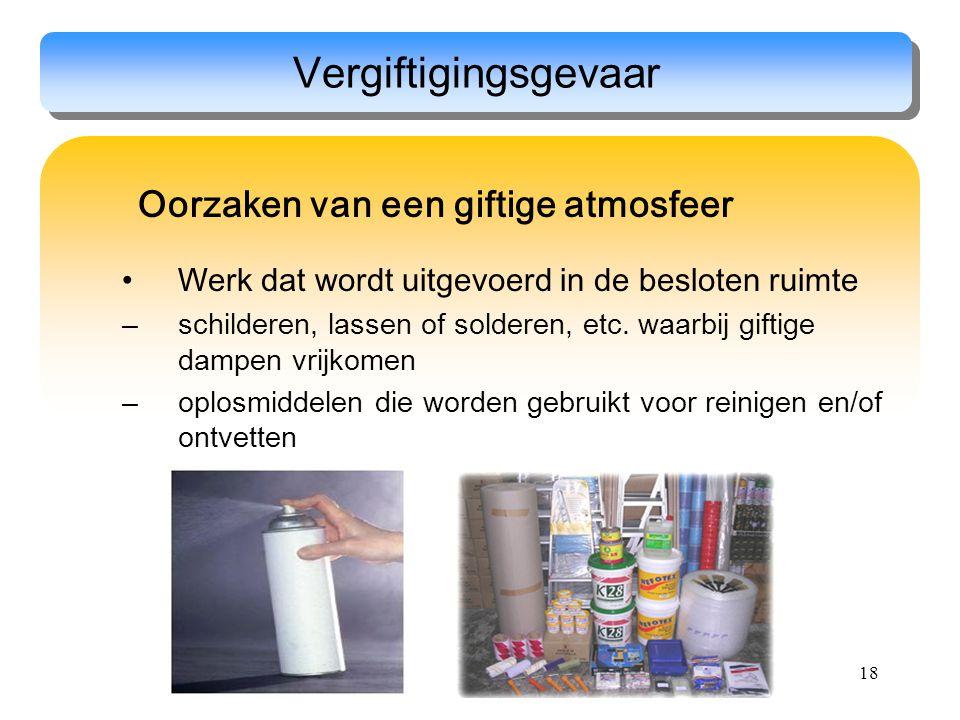 18 Oorzaken van een giftige atmosfeer Werk dat wordt uitgevoerd in de besloten ruimte –schilderen, lassen of solderen, etc. waarbij giftige dampen vri
