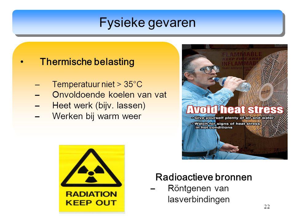 22 Thermische belasting –Temperatuur niet > 35°C –Onvoldoende koelen van vat –Heet werk (bijv. lassen) –Werken bij warm weer Fysieke gevaren Radioacti