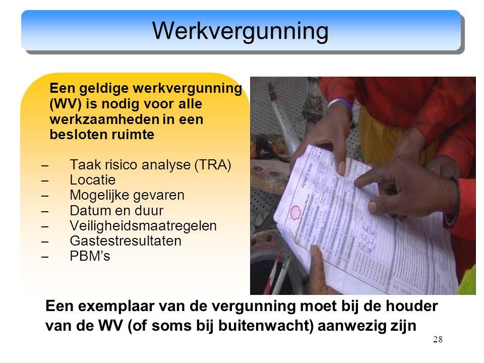 28 Werkvergunning Een geldige werkvergunning (WV) is nodig voor alle werkzaamheden in een besloten ruimte –Taak risico analyse (TRA) –Locatie –Mogelij