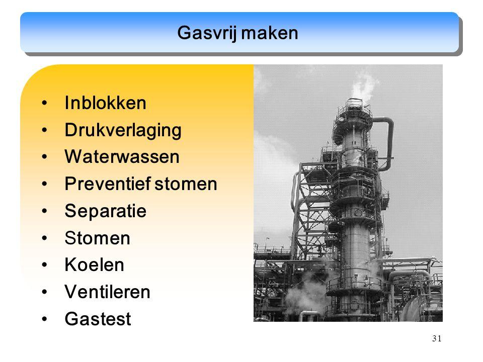 31 Gasvrij maken Inblokken Drukverlaging Waterwassen Preventief stomen Separatie Stomen Koelen Ventileren Gastest