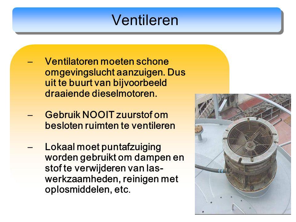 33 Ventileren –Ventilatoren moeten schone omgevingslucht aanzuigen. Dus uit te buurt van bijvoorbeeld draaiende dieselmotoren. –Gebruik NOOIT zuurstof