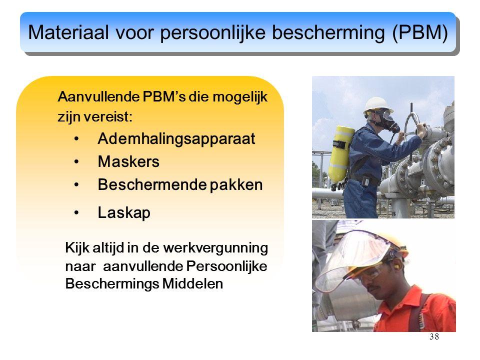 38 Aanvullende PBM's die mogelijk zijn vereist: Ademhalingsapparaat Maskers Beschermende pakken Laskap Materiaal voor persoonlijke bescherming (PBM) K