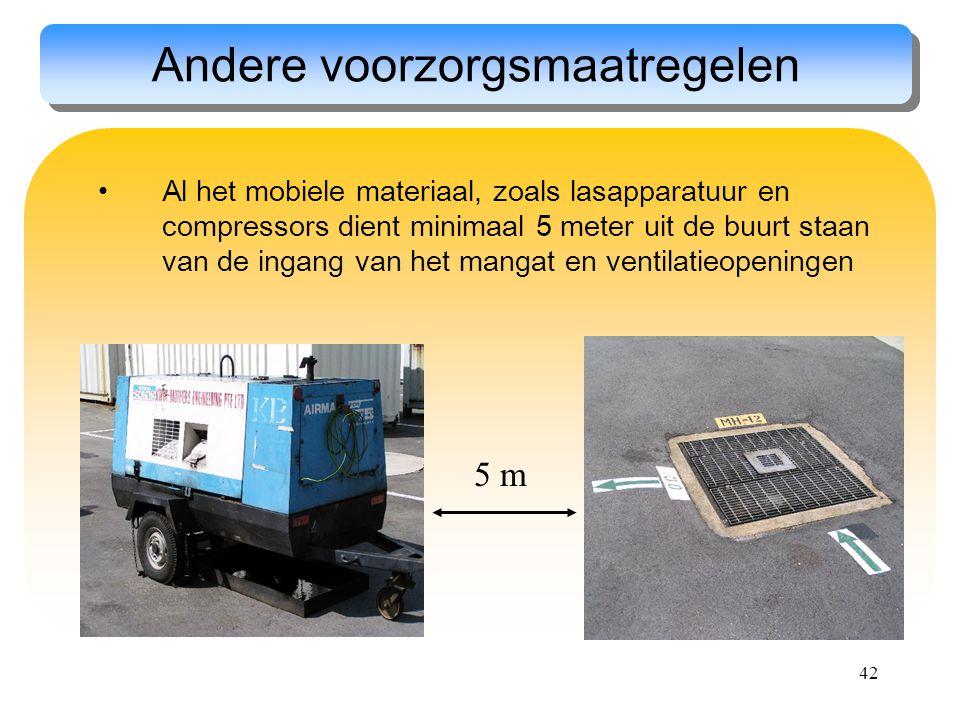 42 Andere voorzorgsmaatregelen Al het mobiele materiaal, zoals lasapparatuur en compressors dient minimaal 5 meter uit de buurt staan van de ingang va