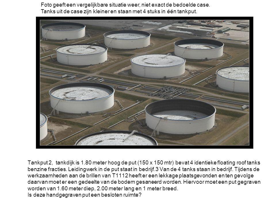 Tankput 2, tankdijk is 1.80 meter hoog de put (150 x 150 mtr) bevat 4 identieke floating roof tanks benzine fracties. Leidingwerk in de put staat in b
