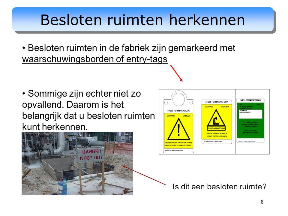 8 Besloten ruimten herkennen Besloten ruimten in de fabriek zijn gemarkeerd met waarschuwingsborden of entry-tags Sommige zijn echter niet zo opvallen