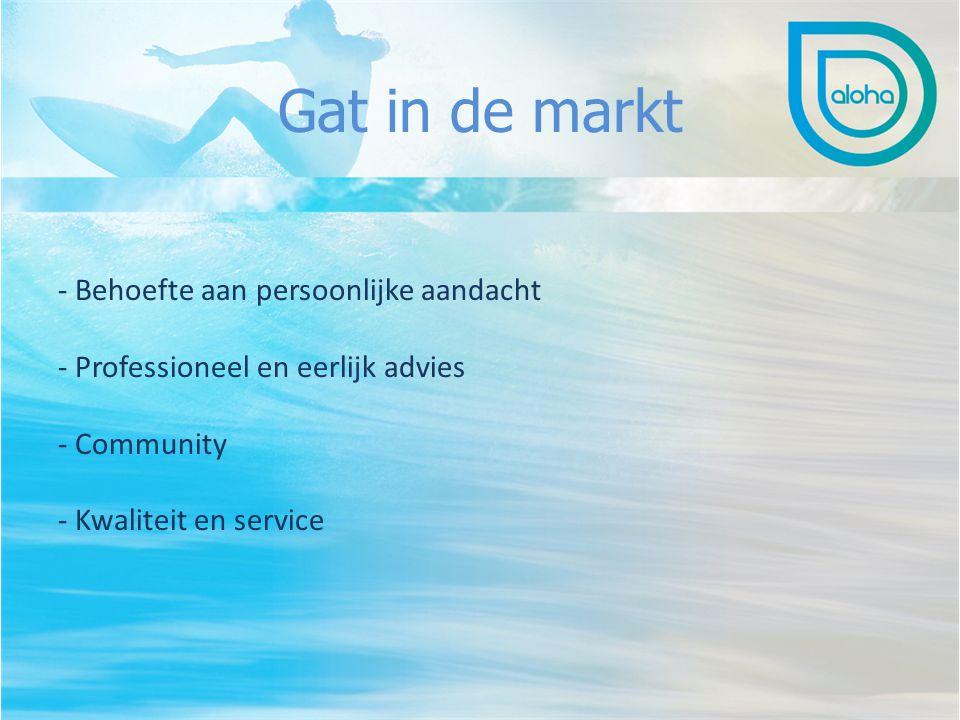 Gat in de markt - Behoefte aan persoonlijke aandacht - Professioneel en eerlijk advies - Community - Kwaliteit en service