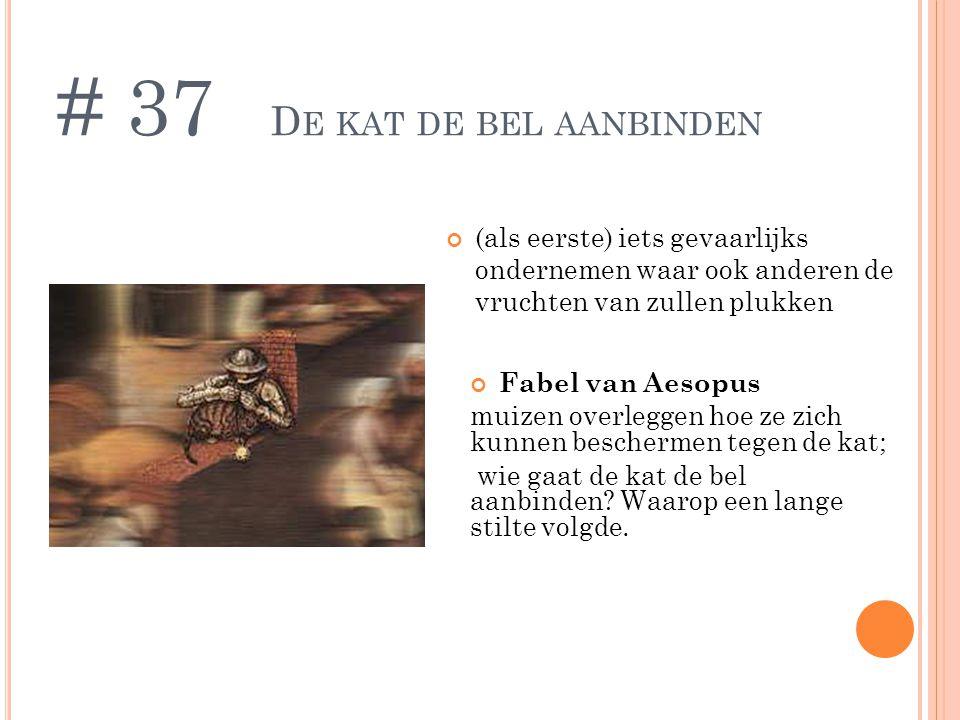 D E KAT DE BEL AANBINDEN (als eerste) iets gevaarlijks ondernemen waar ook anderen de vruchten van zullen plukken # 37 Fabel van Aesopus muizen overleggen hoe ze zich kunnen beschermen tegen de kat; wie gaat de kat de bel aanbinden.