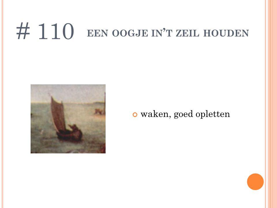 EEN OOGJE IN ' T ZEIL HOUDEN waken, goed opletten # 110
