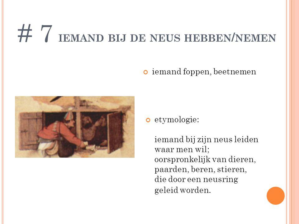 IEMAND BIJ DE NEUS HEBBEN / NEMEN iemand foppen, beetnemen # 7 etymologie: iemand bij zijn neus leiden waar men wil; oorspronkelijk van dieren, paarde
