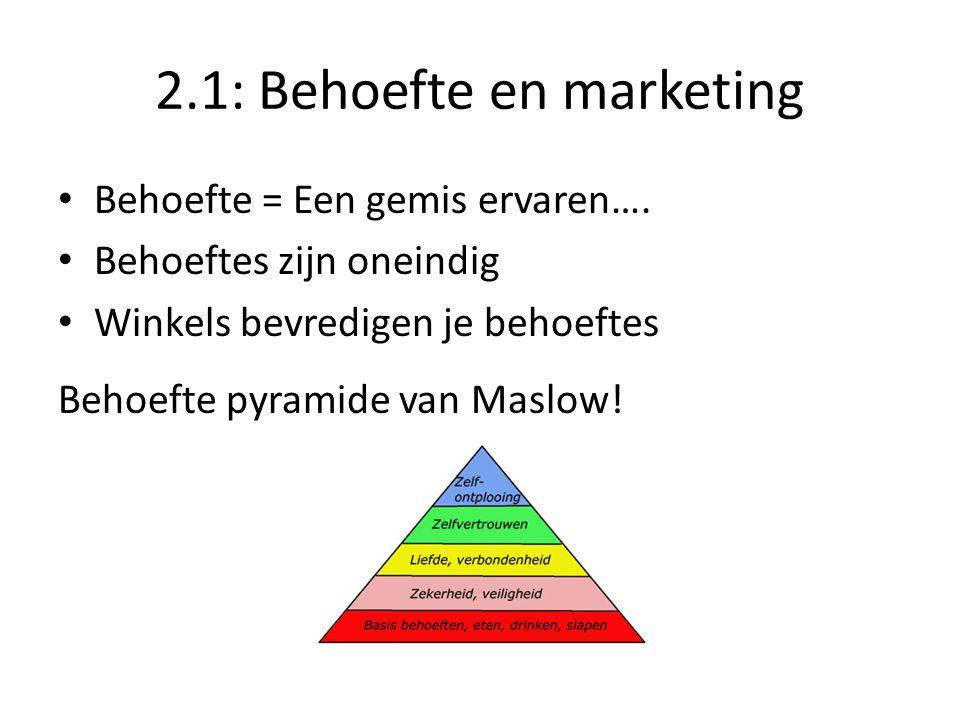 2.1: Behoefte en marketing Behoefte = Een gemis ervaren…. Behoeftes zijn oneindig Winkels bevredigen je behoeftes Behoefte pyramide van Maslow!