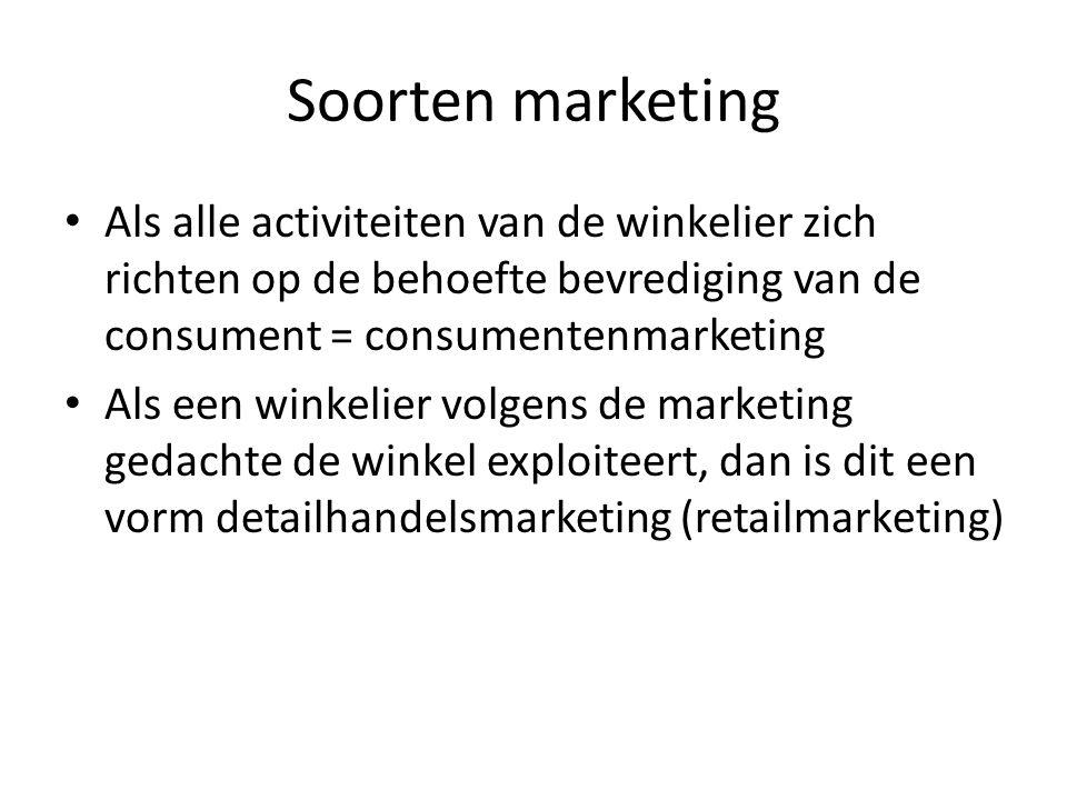Soorten marketing Als alle activiteiten van de winkelier zich richten op de behoefte bevrediging van de consument = consumentenmarketing Als een winke