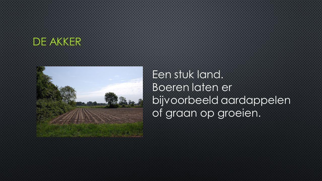 Een stuk land. Boeren laten er bijvoorbeeld aardappelen of graan op groeien.