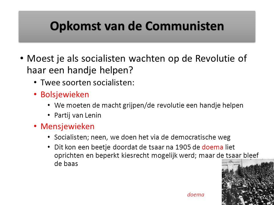 Opkomst van de Communisten Moest je als socialisten wachten op de Revolutie of haar een handje helpen.