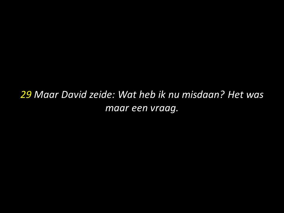 29 Maar David zeide: Wat heb ik nu misdaan? Het was maar een vraag.