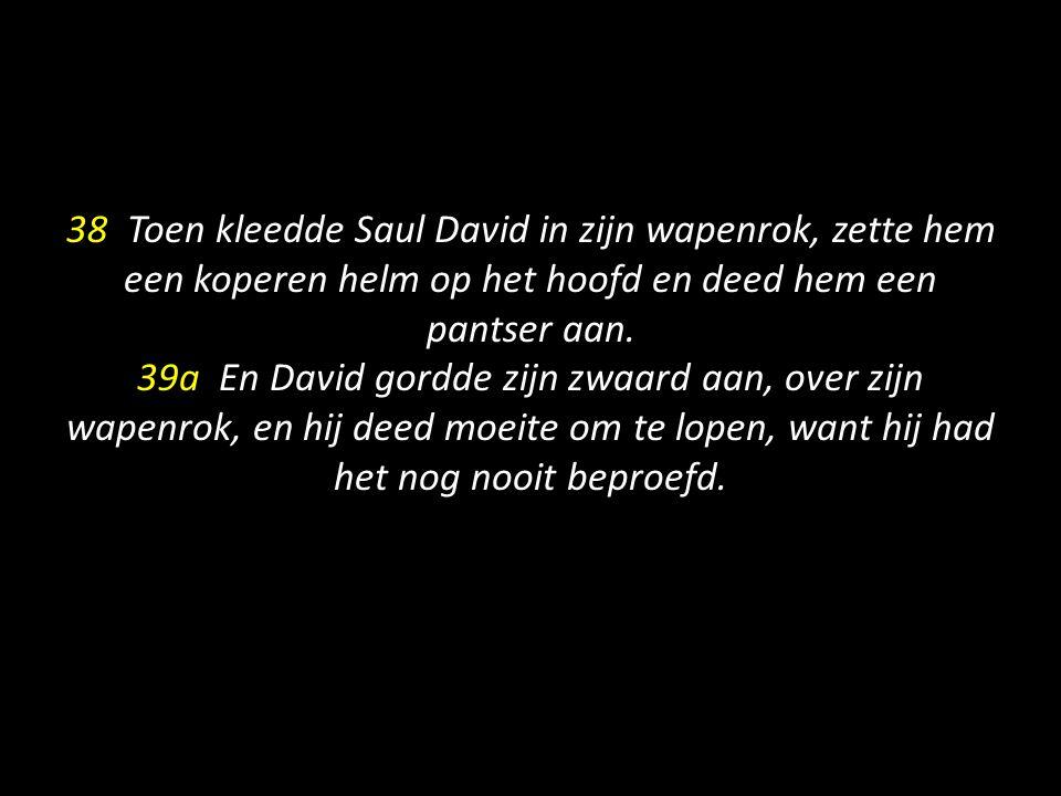 38 Toen kleedde Saul David in zijn wapenrok, zette hem een koperen helm op het hoofd en deed hem een pantser aan. 39a En David gordde zijn zwaard aan,
