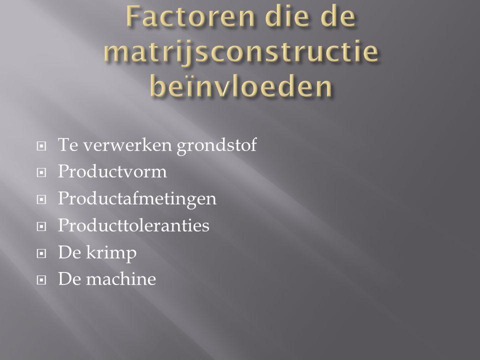  Te verwerken grondstof  Productvorm  Productafmetingen  Producttoleranties  De krimp  De machine
