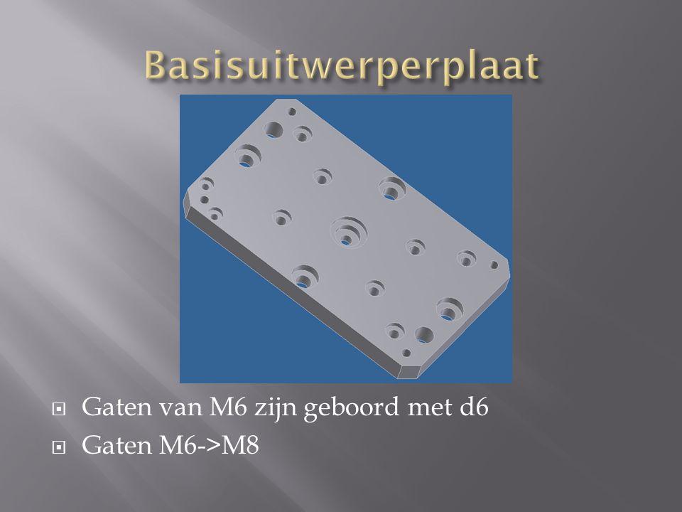  Gaten van M6 zijn geboord met d6  Gaten M6->M8