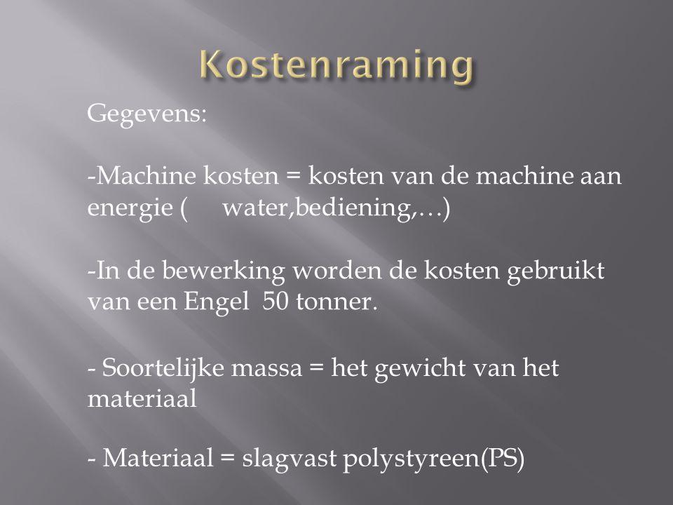 Gegevens: -Machine kosten = kosten van de machine aan energie ( water,bediening,…) -In de bewerking worden de kosten gebruikt van een Engel 50 tonner.