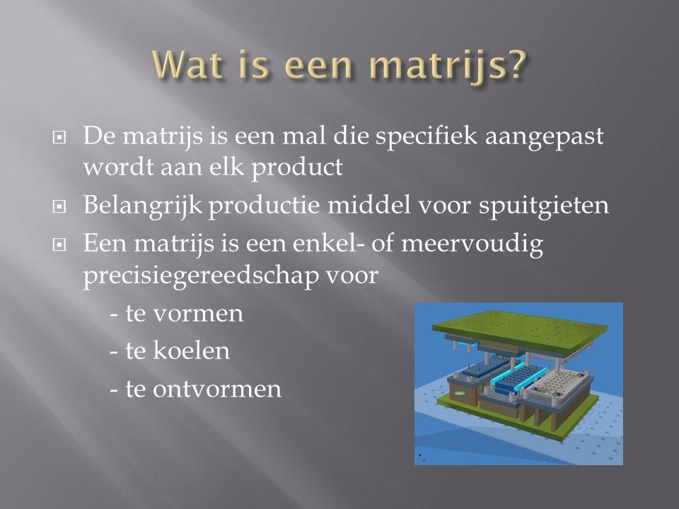  De matrijs is een mal die specifiek aangepast wordt aan elk product  Belangrijk productie middel voor spuitgieten  Een matrijs is een enkel- of me