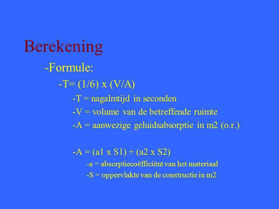 Berekening -Formule: -T= (1/6) x (V/A) -T = nagalmtijd in seconden -V = volume van de betreffende ruimte -A = aanwezige geluidsabsorptie in m2 (o.r.) -A = (a1 x S1) + (a2 x S2) -a = absorptiecoëfficiënt van het materiaal -S = oppervlakte van de constructie in m2