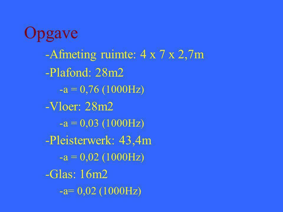 Opgave -Afmeting ruimte: 4 x 7 x 2,7m -Plafond: 28m2 -a = 0,76 (1000Hz) -Vloer: 28m2 -a = 0,03 (1000Hz) -Pleisterwerk: 43,4m -a = 0,02 (1000Hz) -Glas: