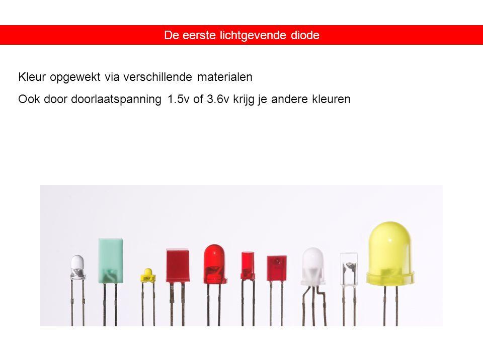 De eerste lichtgevende diode Kleur opgewekt via verschillende materialen Ook door doorlaatspanning 1.5v of 3.6v krijg je andere kleuren