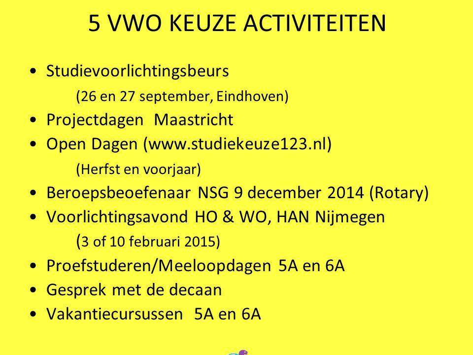 5 VWO KEUZE ACTIVITEITEN Studievoorlichtingsbeurs (26 en 27 september, Eindhoven) Projectdagen Maastricht Open Dagen (www.studiekeuze123.nl) (Herfst e