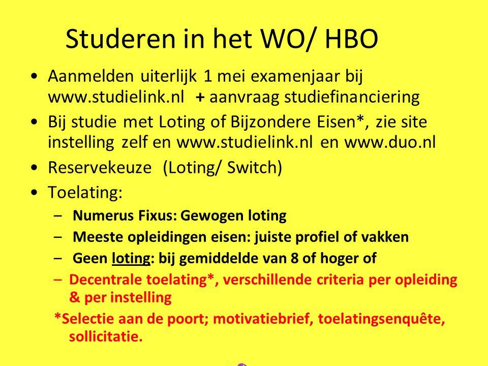 Studeren in het WO/ HBO Aanmelden uiterlijk 1 mei examenjaar bij www.studielink.nl + aanvraag studiefinanciering Bij studie met Loting of Bijzondere E