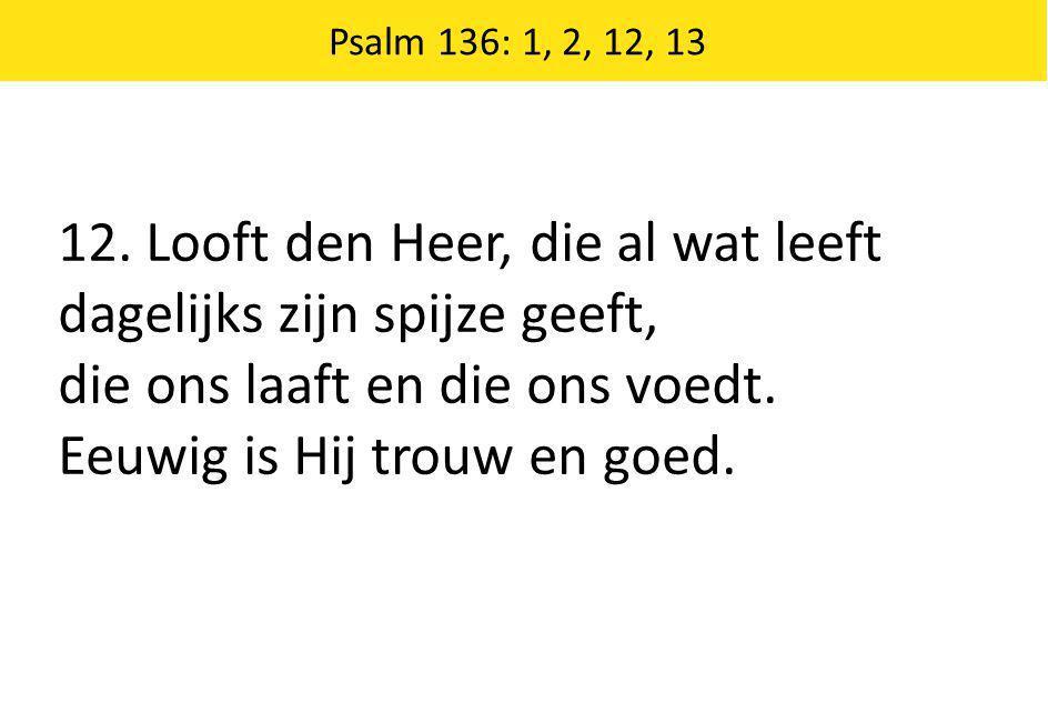 Psalm 136: 1, 2, 12, 13 12. Looft den Heer, die al wat leeft dagelijks zijn spijze geeft, die ons laaft en die ons voedt. Eeuwig is Hij trouw en goed.