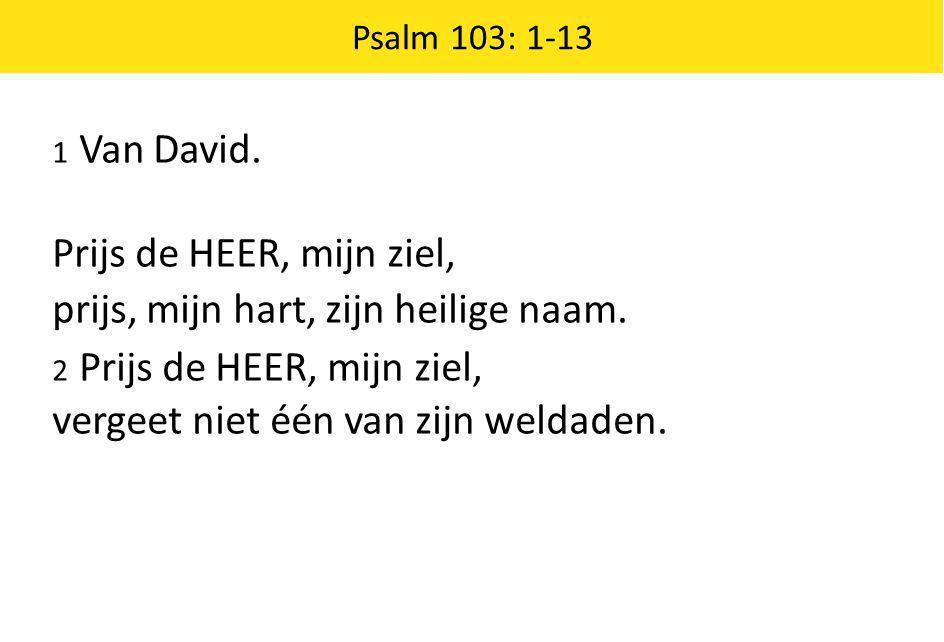 1 Van David. Prijs de HEER, mijn ziel, prijs, mijn hart, zijn heilige naam. 2 Prijs de HEER, mijn ziel, vergeet niet één van zijn weldaden. Psalm 103: