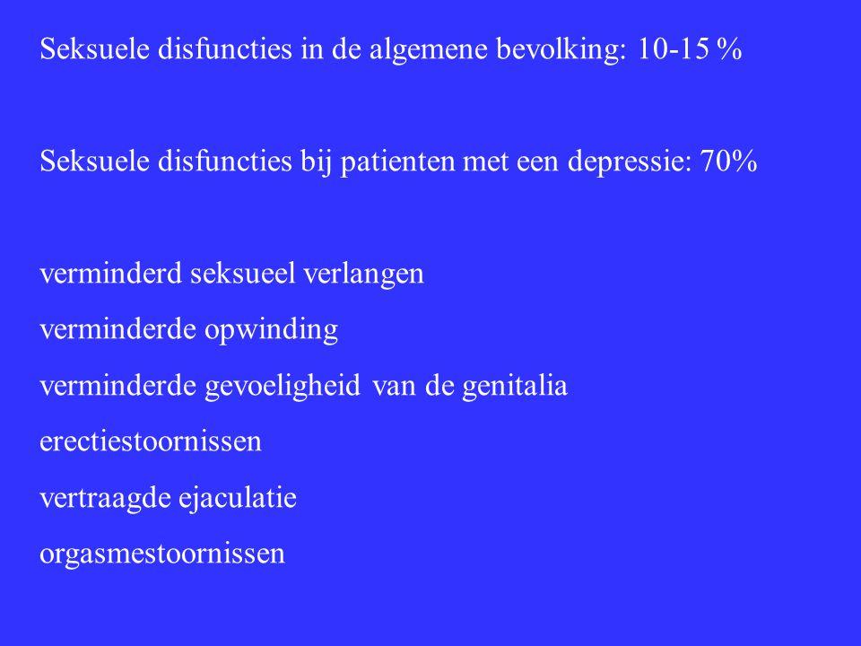 Seksuele disfuncties in de algemene bevolking: 10-15 % Seksuele disfuncties bij patienten met een depressie: 70% verminderd seksueel verlangen vermind