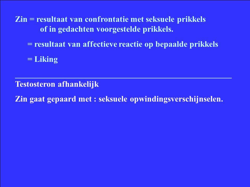 Zin = resultaat van confrontatie met seksuele prikkels of in gedachten voorgestelde prikkels. = resultaat van affectieve reactie op bepaalde prikkels