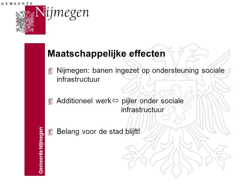 Gemeente Nijmegen Maatschappelijke effecten 4 Nijmegen: banen ingezet op ondersteuning sociale infrastructuur 4 Additioneel werk  pijler onder sociale infrastructuur 4 Belang voor de stad blijft!