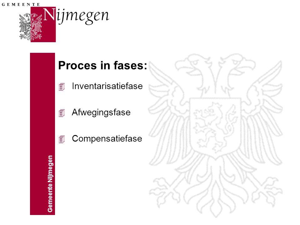 Gemeente Nijmegen Proces in fases: 4 Inventarisatiefase 4 Afwegingsfase 4 Compensatiefase
