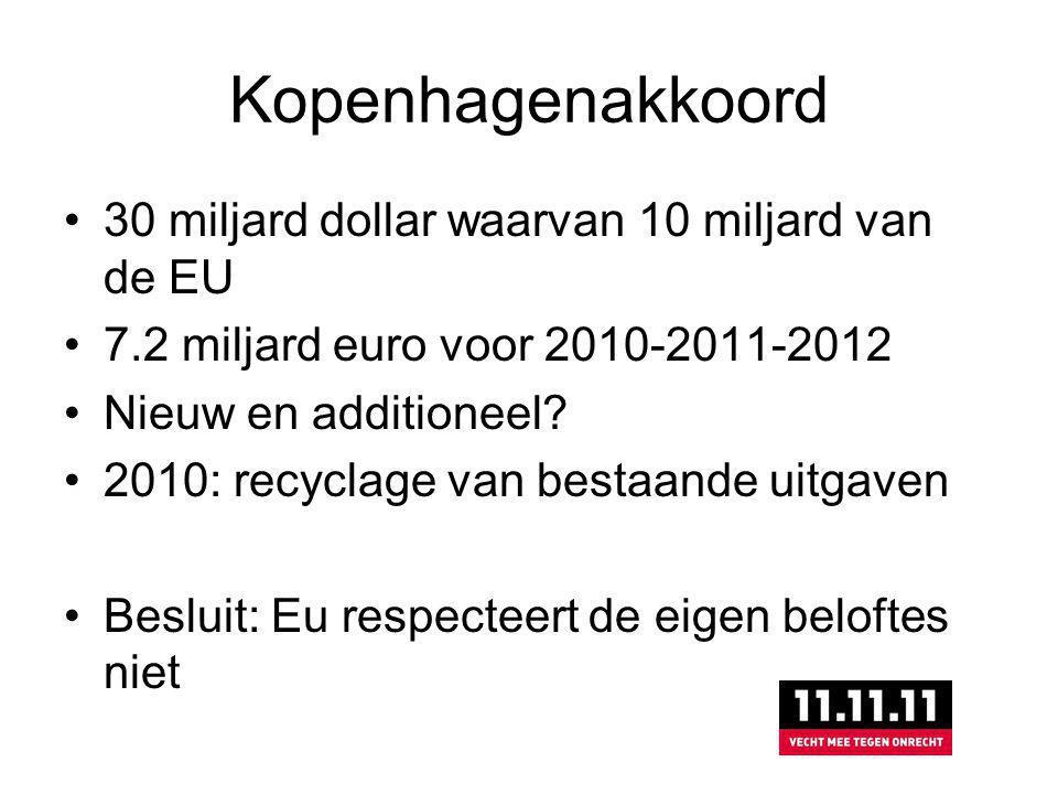 Kopenhagenakkoord 30 miljard dollar waarvan 10 miljard van de EU 7.2 miljard euro voor 2010-2011-2012 Nieuw en additioneel.