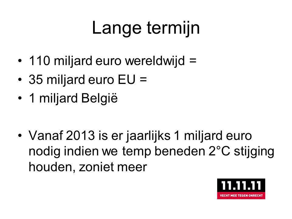 Lange termijn 110 miljard euro wereldwijd = 35 miljard euro EU = 1 miljard België Vanaf 2013 is er jaarlijks 1 miljard euro nodig indien we temp beneden 2°C stijging houden, zoniet meer