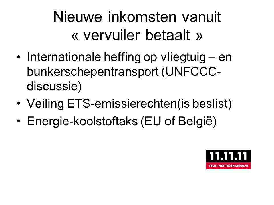 Nieuwe inkomsten vanuit « vervuiler betaalt » Internationale heffing op vliegtuig – en bunkerschepentransport (UNFCCC- discussie) Veiling ETS-emissierechten(is beslist) Energie-koolstoftaks (EU of België)