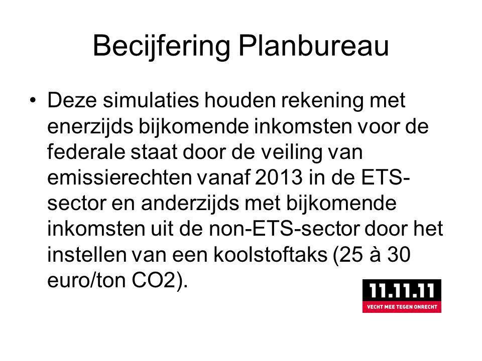 Becijfering Planbureau Deze simulaties houden rekening met enerzijds bijkomende inkomsten voor de federale staat door de veiling van emissierechten vanaf 2013 in de ETS- sector en anderzijds met bijkomende inkomsten uit de non-ETS-sector door het instellen van een koolstoftaks (25 à 30 euro/ton CO2).