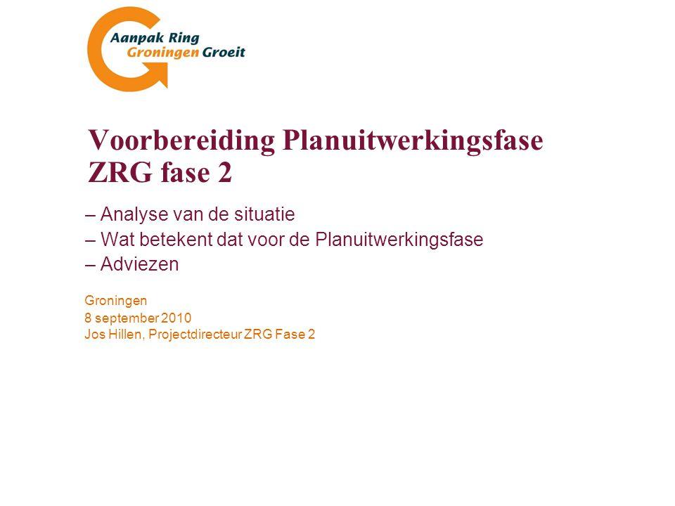 Voorbereiding Planuitwerkingsfase ZRG fase 2 22 Indicatieve omvang projectorganisatie –Uitbesteding (€) wordt nog geïnventariseerd –Zorg: dreiging onbalans in projectleiderschap en participatie deelprojecten –SOM, BP Groningen en Integraal Ontwerp bij voorkeur een regionale projectleider Deelprojectplannenf.t.e.