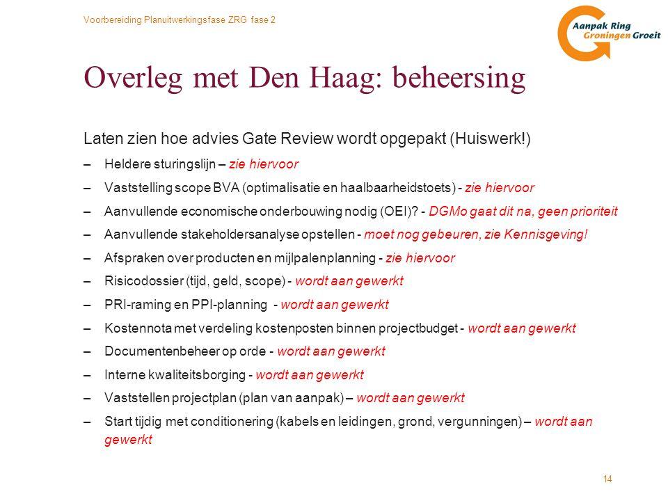 Voorbereiding Planuitwerkingsfase ZRG fase 2 14 Overleg met Den Haag: beheersing Laten zien hoe advies Gate Review wordt opgepakt (Huiswerk!) –Heldere