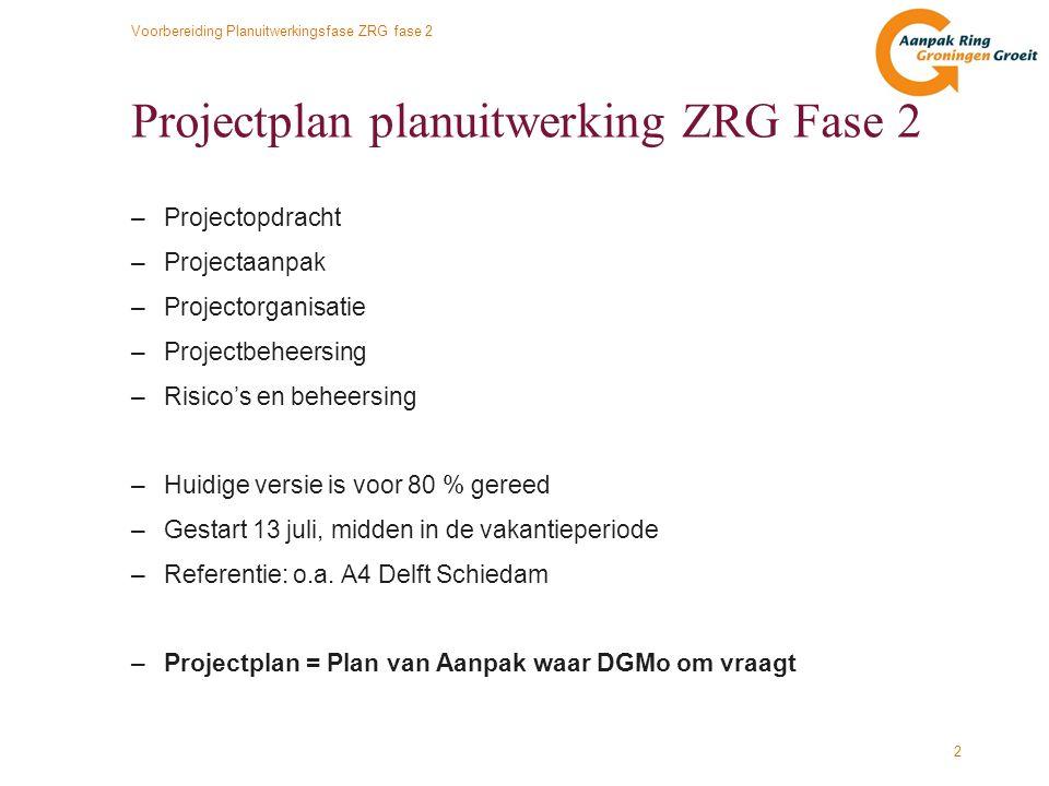 Voorbereiding Planuitwerkingsfase ZRG fase 2 2 Projectplan planuitwerking ZRG Fase 2 –Projectopdracht –Projectaanpak –Projectorganisatie –Projectbehee