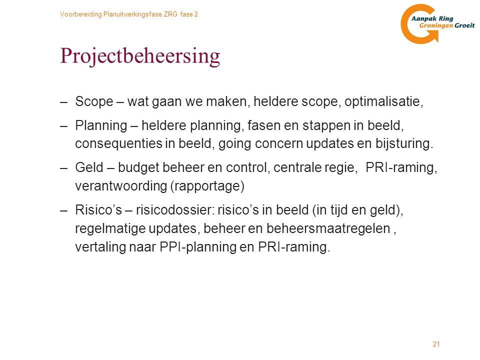 Voorbereiding Planuitwerkingsfase ZRG fase 2 21 Projectbeheersing –Scope – wat gaan we maken, heldere scope, optimalisatie, –Planning – heldere planni
