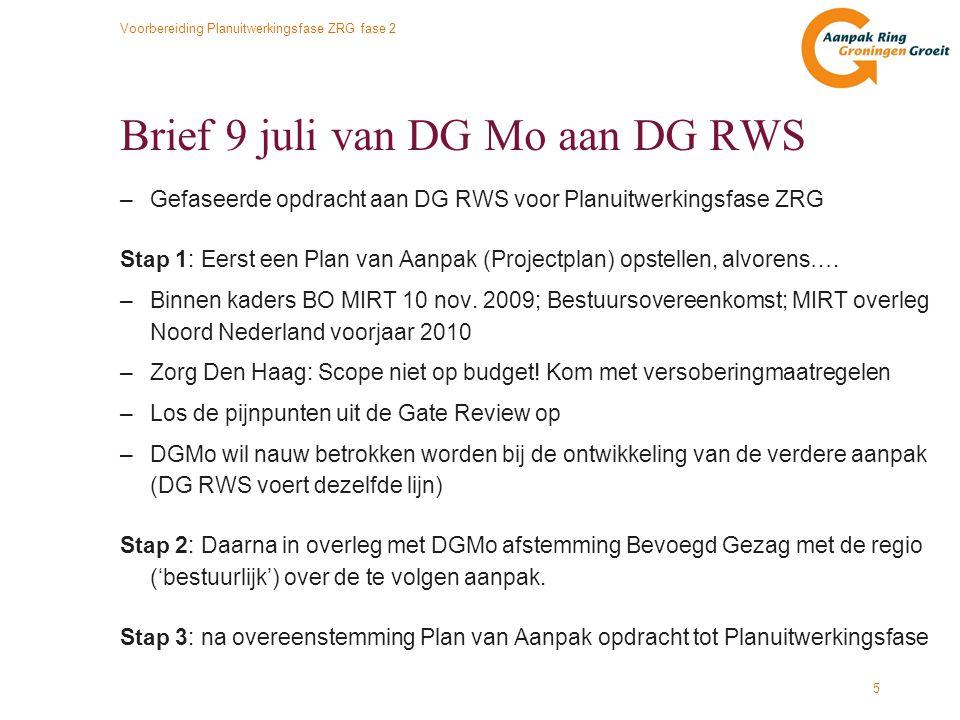 Voorbereiding Planuitwerkingsfase ZRG fase 2 6 Overleg met Den Haag: Scope –Hoog attentieniveau bij DGMo en DG RWS vanwege scope versus budget –Scope passend op taakstellend budget is harde eis om te mogen starten –In het projectplan op basis van kostenraming aantonen dat realisatie van het (geoptimaliseerde) BVA binnen budget uitvoerbaar is –1 BVA in de MER-studie, variant-uitwerkingen mogen onderzocht worden –Extra budget vanuit V&W is onbespreekbaar.
