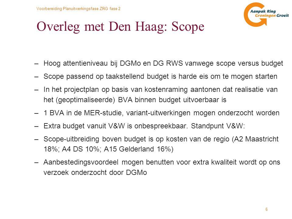 Voorbereiding Planuitwerkingsfase ZRG fase 2 6 Overleg met Den Haag: Scope –Hoog attentieniveau bij DGMo en DG RWS vanwege scope versus budget –Scope