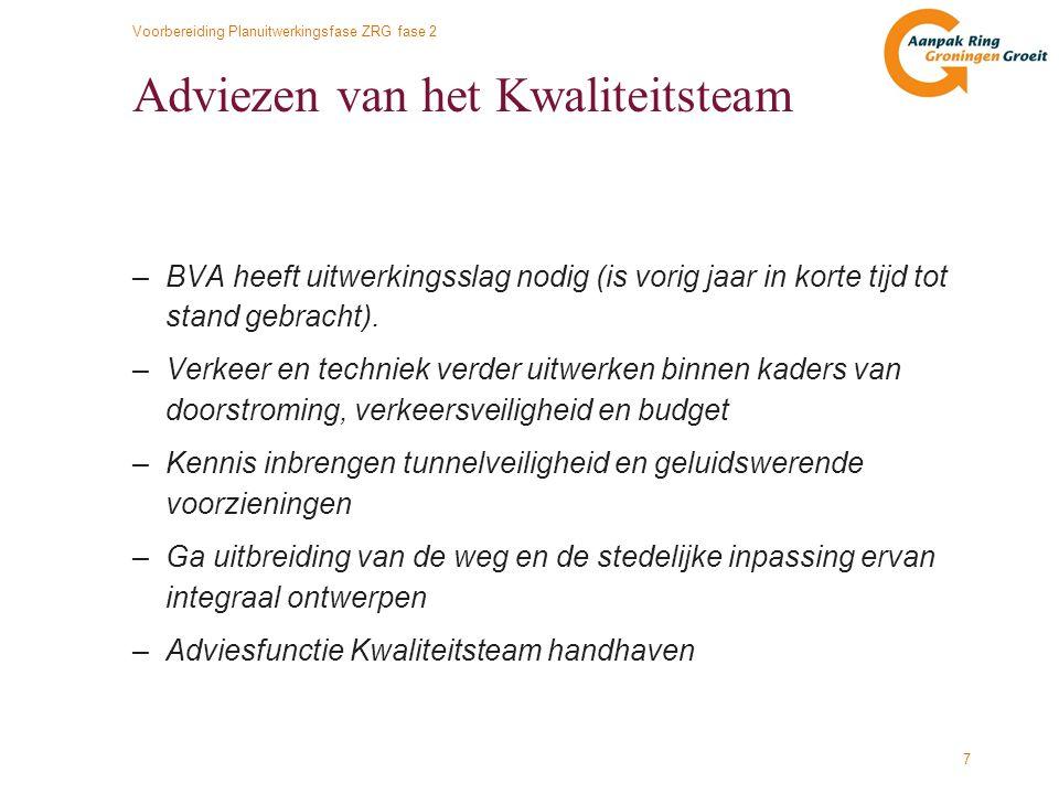 Voorbereiding Planuitwerkingsfase ZRG fase 2 8 Optimalisatie BVA 'binnen budget' 1 e uitwerking BVA globaal ontwerp 2009€ 742 mln.