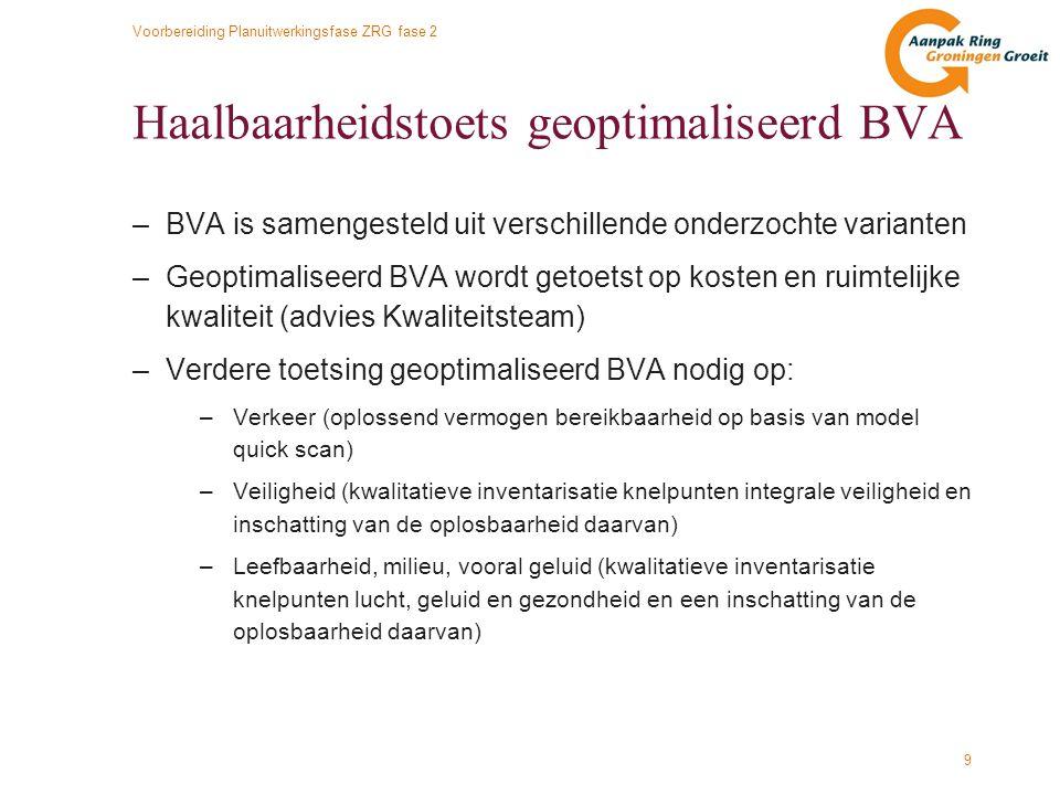 Voorbereiding Planuitwerkingsfase ZRG fase 2 9 Haalbaarheidstoets geoptimaliseerd BVA –BVA is samengesteld uit verschillende onderzochte varianten –Ge